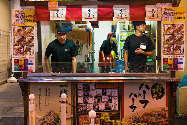Takoyaki shop in Osaka stock photo