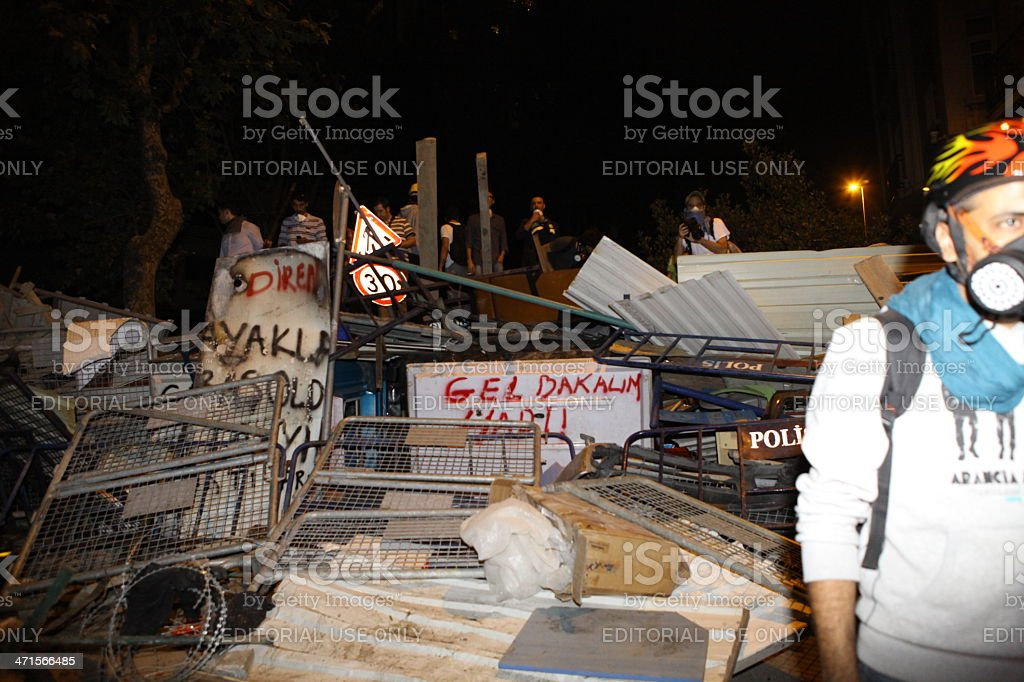 Taksim resists, Demonstration in Istanbul to save Gezi Park stock photo