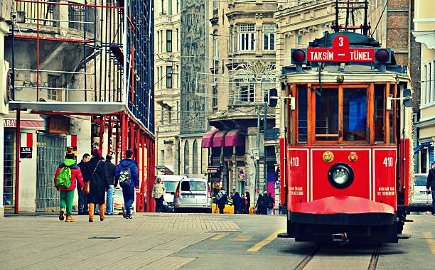 taksim tramway - istiklal avenue bildbanksfoton och bilder
