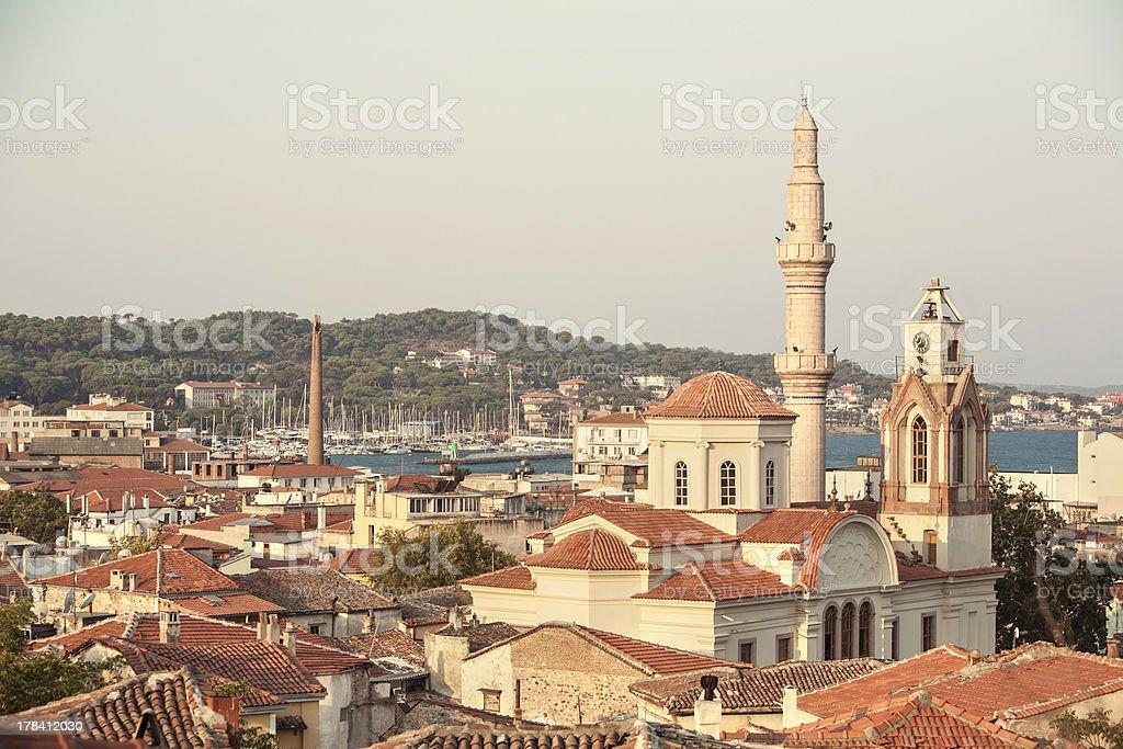Taksiyarhis Church in Ayvalik stock photo