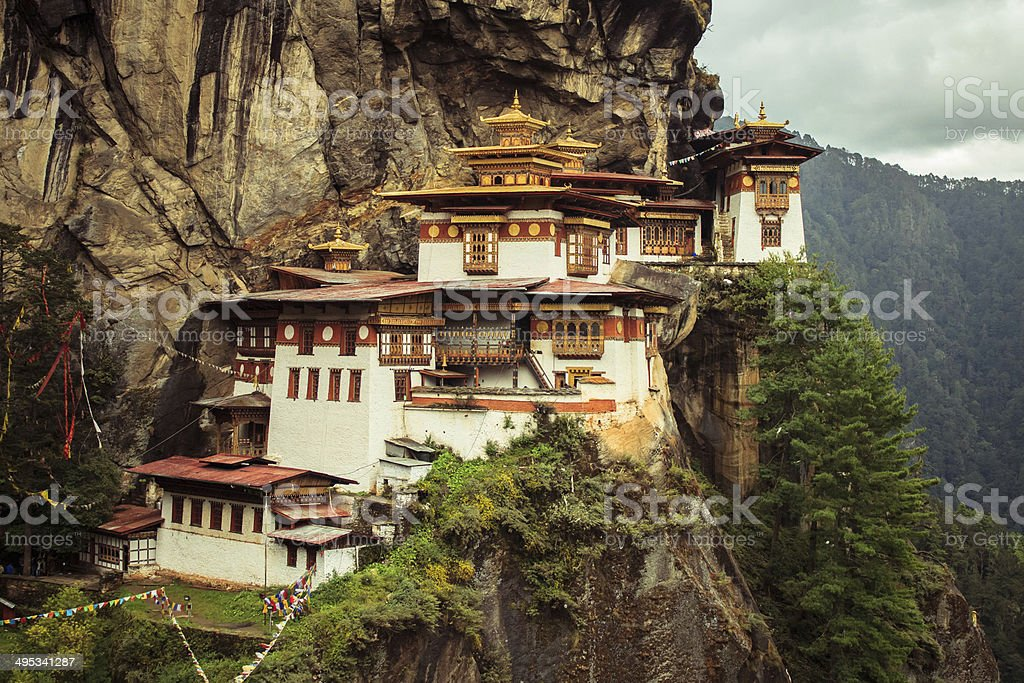 Taktshang Goemba(Tigers Nest Monastery), Bhutan, in a mountain cliff stock photo