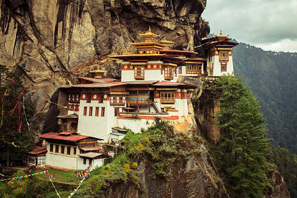 Taktshang Goemba(Tigers Nest Monastery), Bhutan, in a mountain cliff A must watch thing if you ever visit Bhutan. monastery stock pictures, royalty-free photos & images
