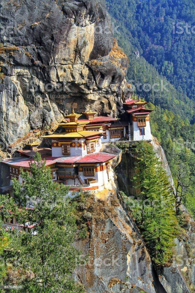Taktshang Goemba or Tiger's nest monastery, Paro, Bhutan. stock photo