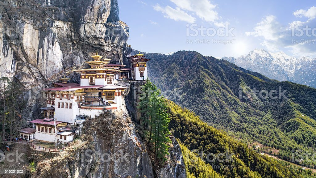 Taktshang Goemba or Tiger's nest Temple or Tiger's nest monaster stock photo