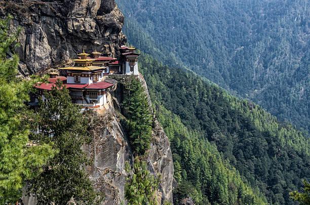 Taktshang 수도원, 부탄 스톡 사진