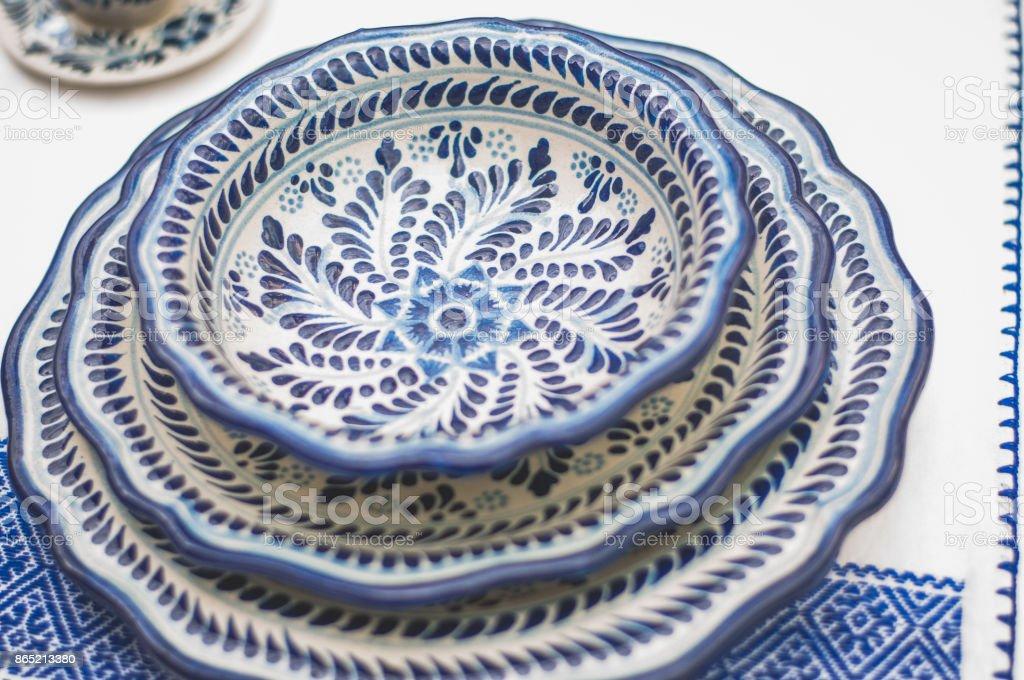 Talavera dishes stock photo