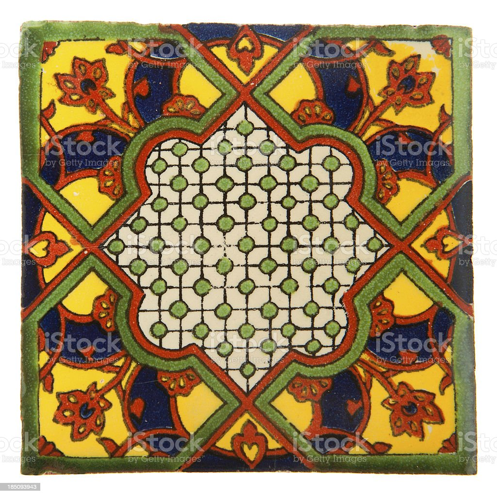Talavera Handcrafted Mexican Ceramic Tile royalty-free stock photo