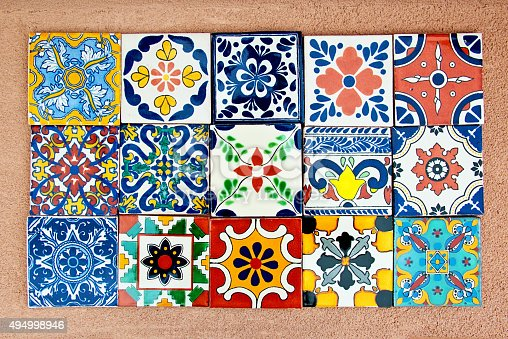 Handcrafted, hand-painted Mexican Ceramic Tile. Mexican tiles are concave (not perfectly flat). They are characterized as unique and irregular. Stenciled ceramic glaze suggest soft focus and edges.Handcrafted, hand-painted Mexican Ceramic Tile. Mexican tiles are concave (not perfectly flat). They are characterized as unique and irregular. Stenciled ceramic glaze suggest soft focus and edges.Handcrafted, hand-painted Mexican Ceramic Tile. Mexican tiles are concave (not perfectly flat). They are characterized as unique and  irregular. Stenciled ceramic glaze suggest soft focus and edges.