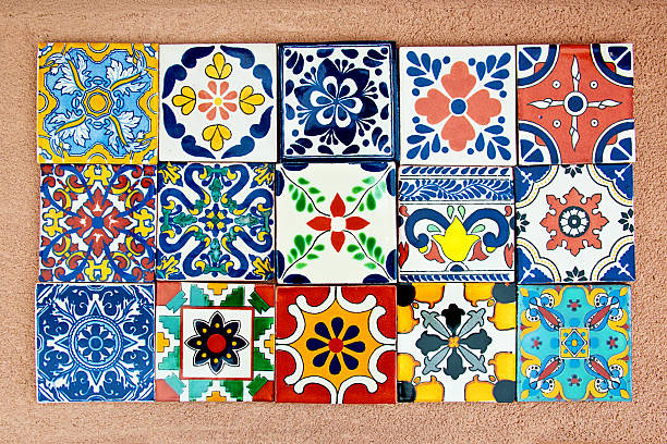 Talavera Handcrafted Mexican Ceramic Tile Handcrafted, hand-painted Mexican Ceramic Tile. Mexican tiles are concave (not perfectly flat). They are characterized as unique and irregular. Stenciled ceramic glaze suggest soft focus and edges.Handcrafted, hand-painted Mexican Ceramic Tile. Mexican tiles are concave (not perfectly flat). They are characterized as unique and irregular. Stenciled ceramic glaze suggest soft focus and edges.Handcrafted, hand-painted Mexican Ceramic Tile. Mexican tiles are concave (not perfectly flat). They are characterized as unique and  irregular. Stenciled ceramic glaze suggest soft focus and edges. mexican culture stock pictures, royalty-free photos & images