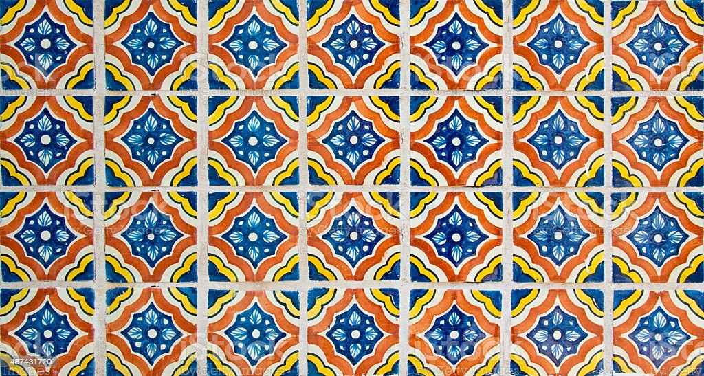 Talavera Handcrafted Mexican Ceramic Tiles Stock Photo