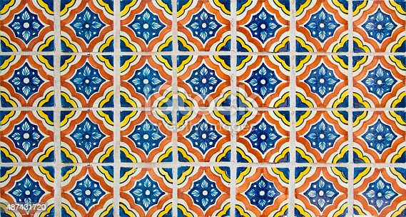 Handcrafted, hand-painted Mexican Ceramic Tile. Mexican tiles are concave (not perfectly flat). They are characterized as unique and  irregular. Stenciled ceramic glaze suggest soft focus and edges.