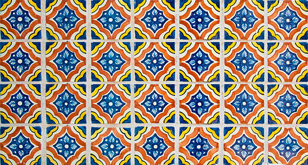 talavera handcrafted mexican ceramic tiles - tile stock photos and pictures