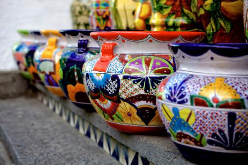 Talavera pottery in Puebla, Mexico.