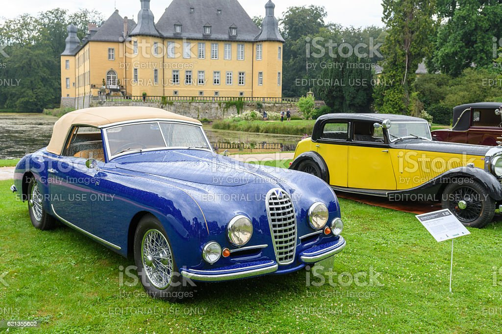 Talbot Lago T26 Record Drophead and Bentley Parkward classic cars stock photo