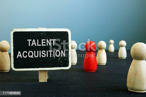 Talent acquisition strategies sign and wooden figurines. HR management concept.