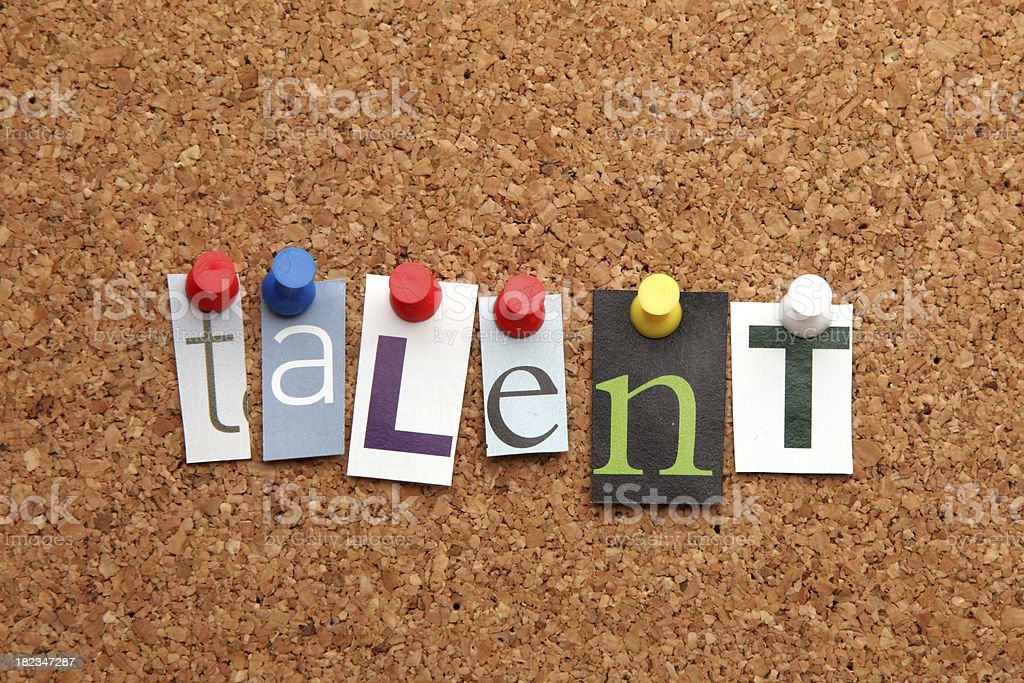Talent pinned on noticeboard royalty-free stock photo