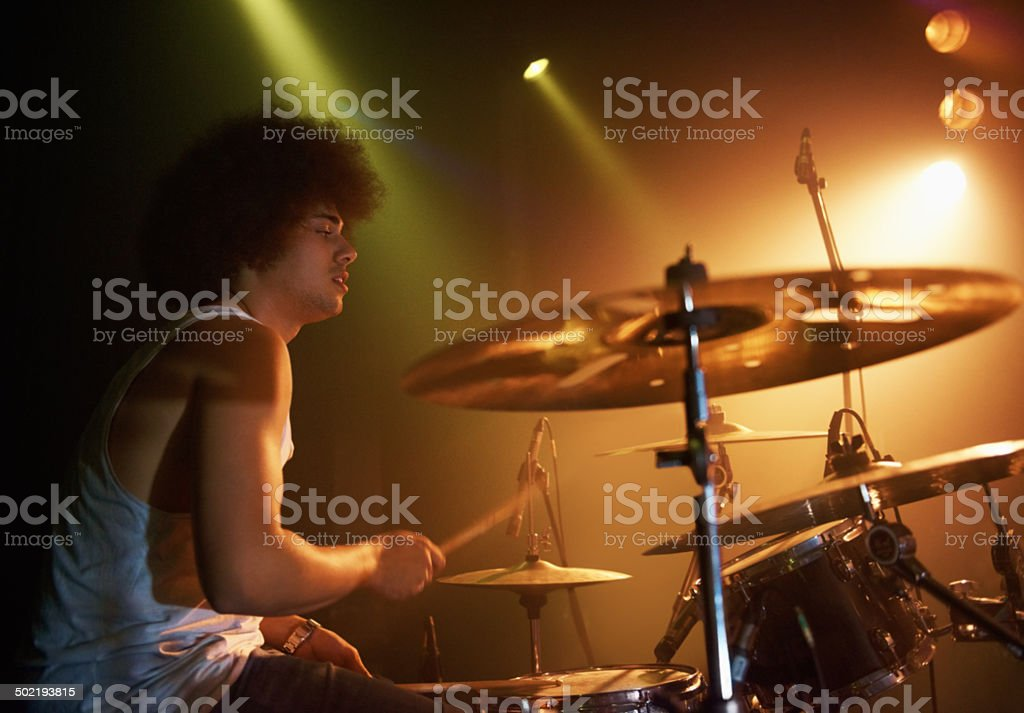 He's a dream on those drums stock photo
