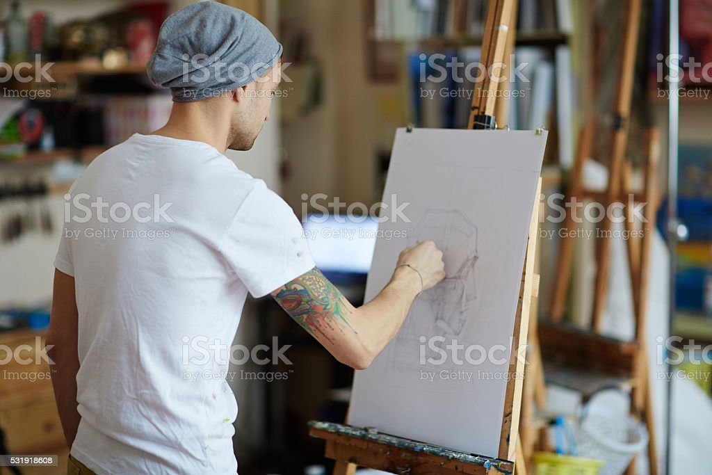 Talented guy stock photo