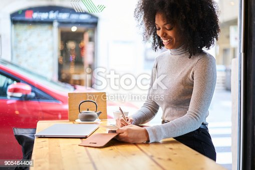 istock Talented young female journalist working on her new book review writing composition in notebook starting working day with hot tea in cozy coffee shop getting inspired by weather outside the window 905464406