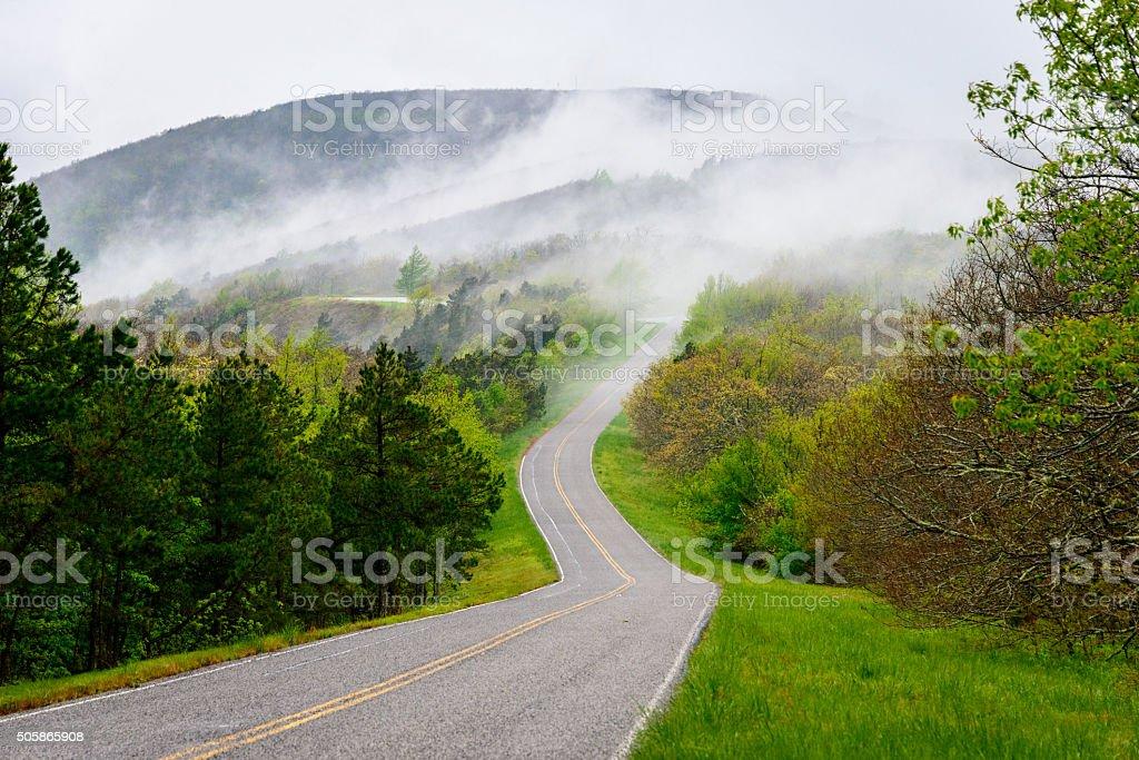Talimena Scenic Drive stock photo
