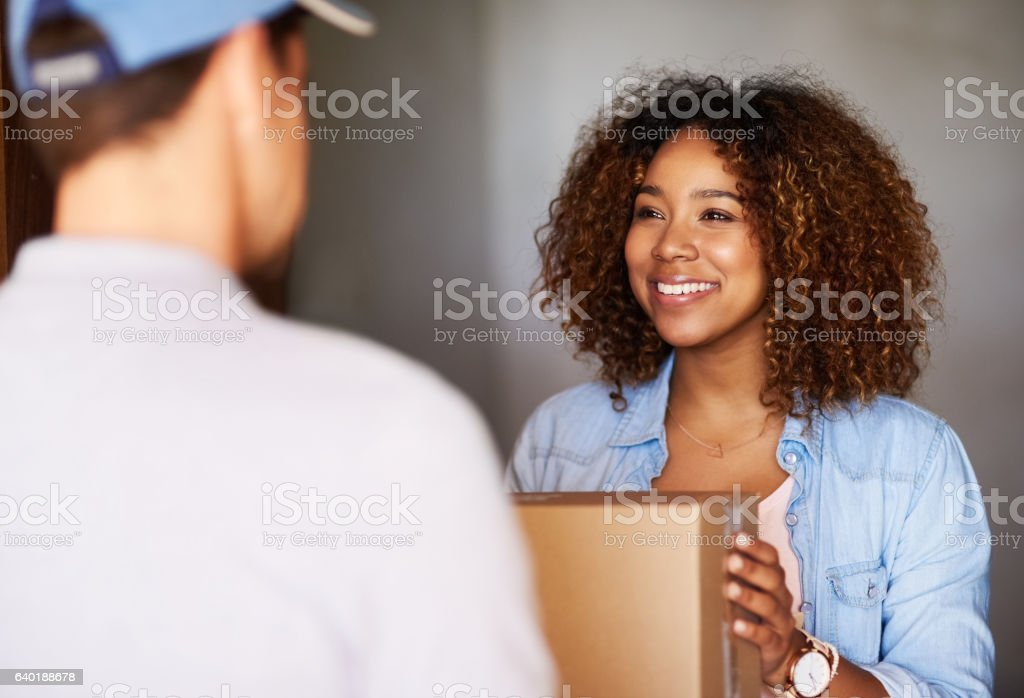 Talk about swift express delivery! stock photo