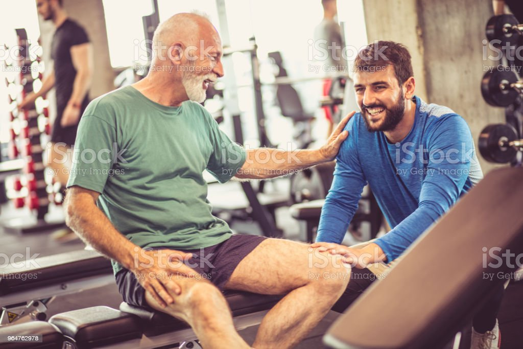 Talk and break at gym. royalty-free stock photo