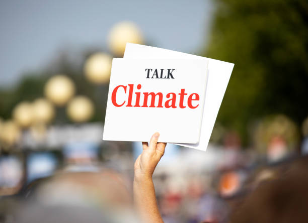 Talk Climate Protest Sign stock photo