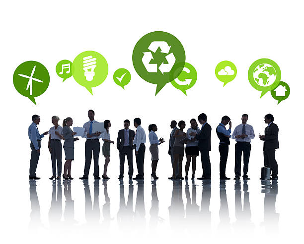 talk in green - responsible business stock photos and pictures