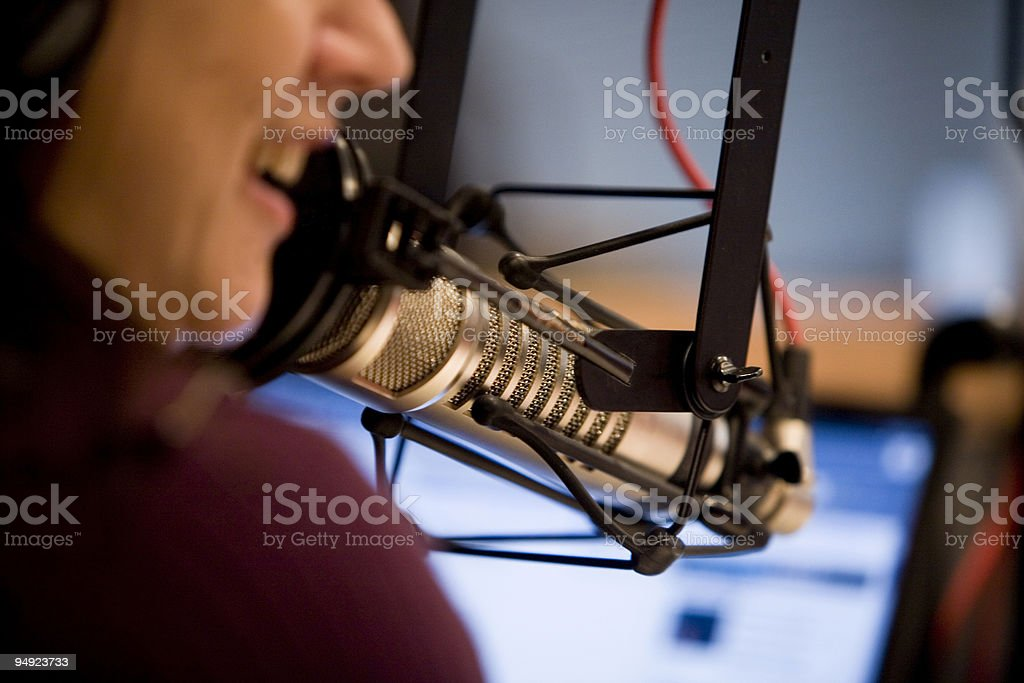 Talk Radio Computer On Air Microphone Talker stock photo
