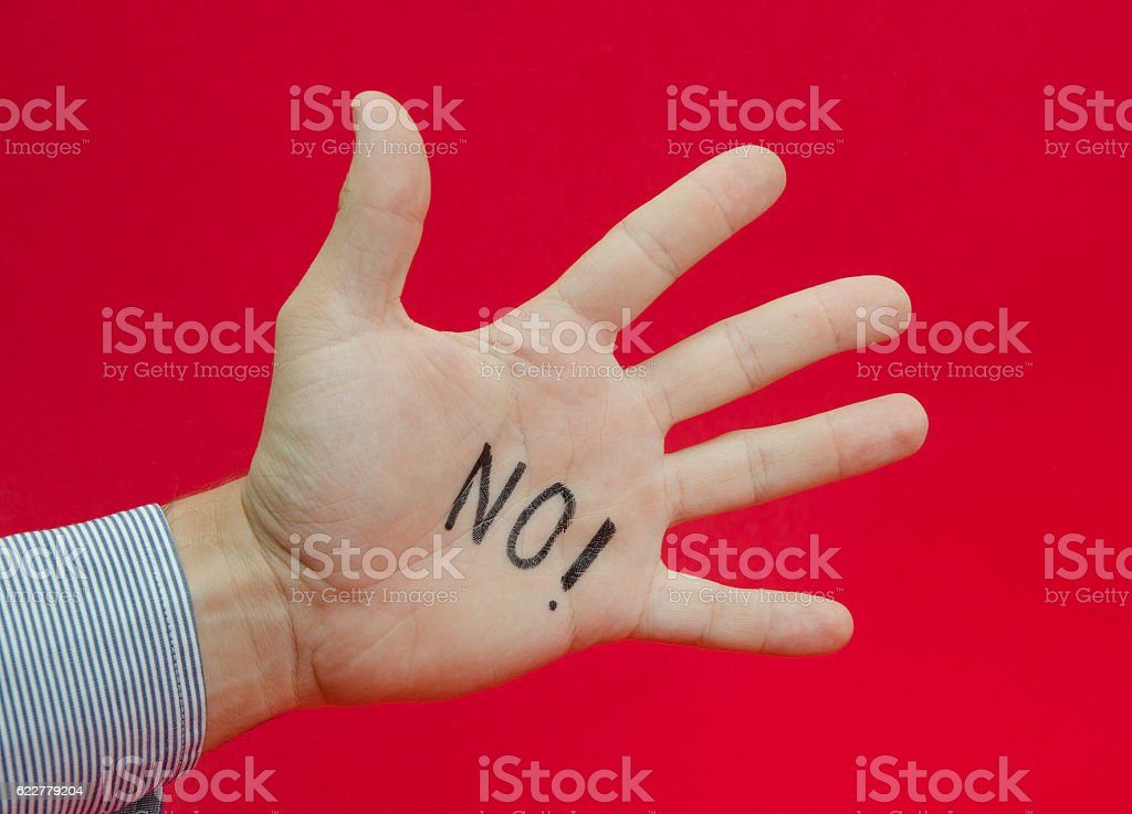 Talk to the hand or saying no stock photo