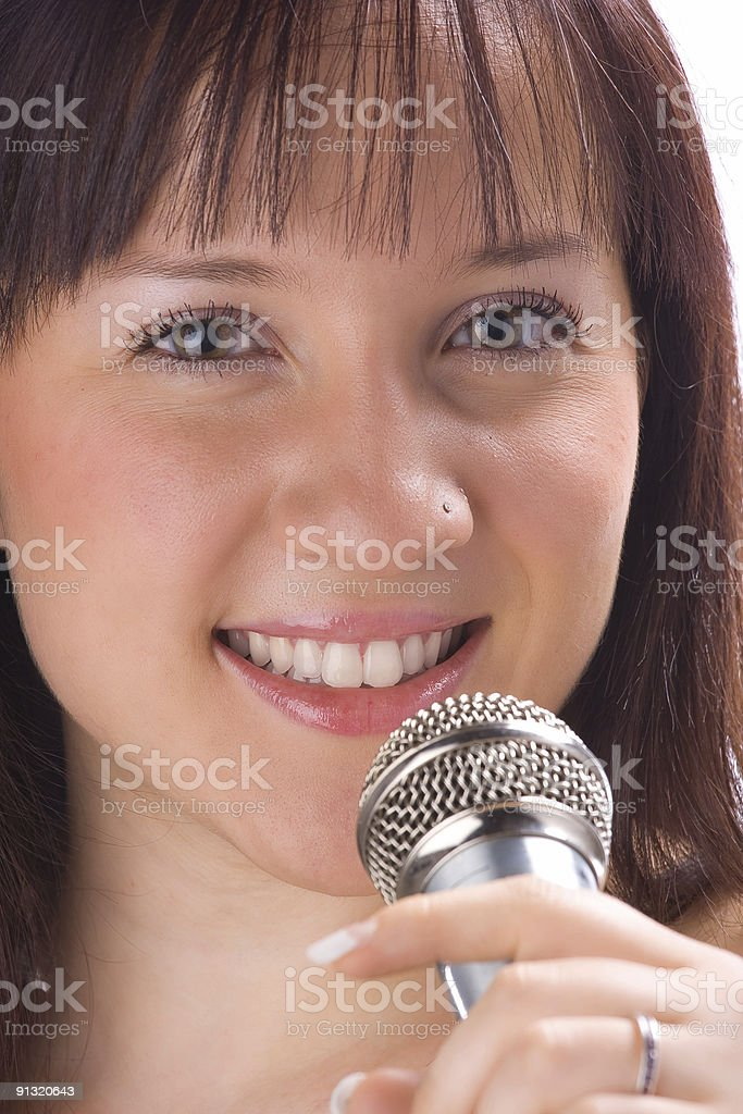 Talk to the mic royalty-free stock photo