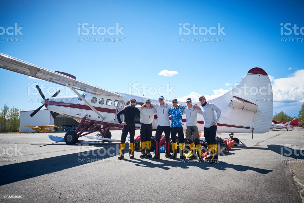Talkeetna airport, group of 6 mountaineers are ready for Denali. stock photo