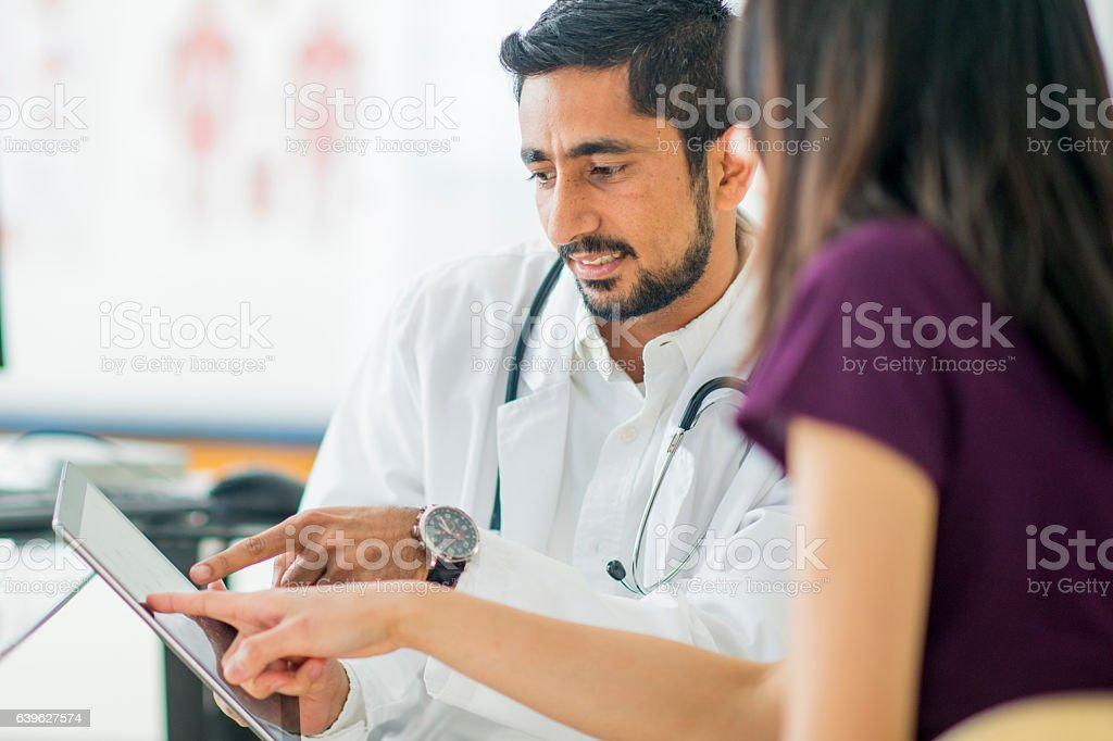 Talking About a Treatment Option stock photo