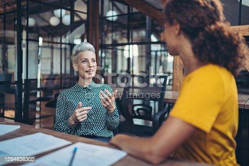 Two businesswomen talking in the office
