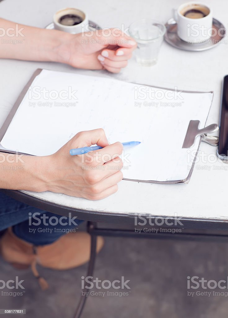Talking about work stock photo