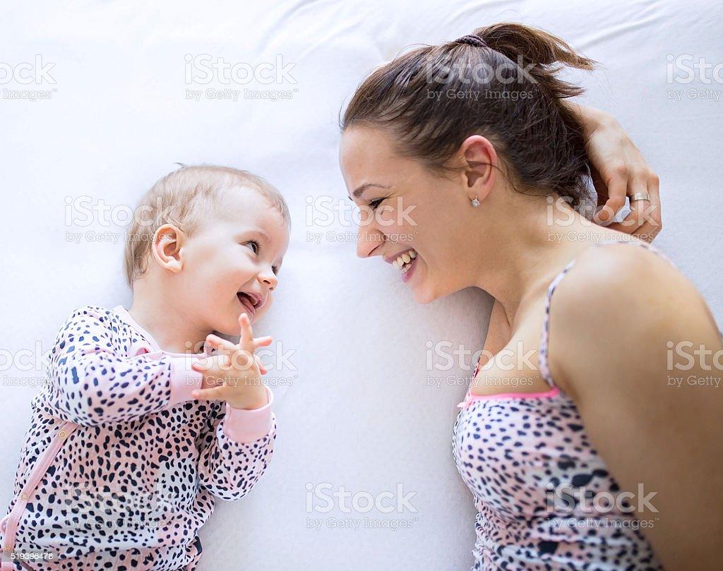 Talking baby stock photo