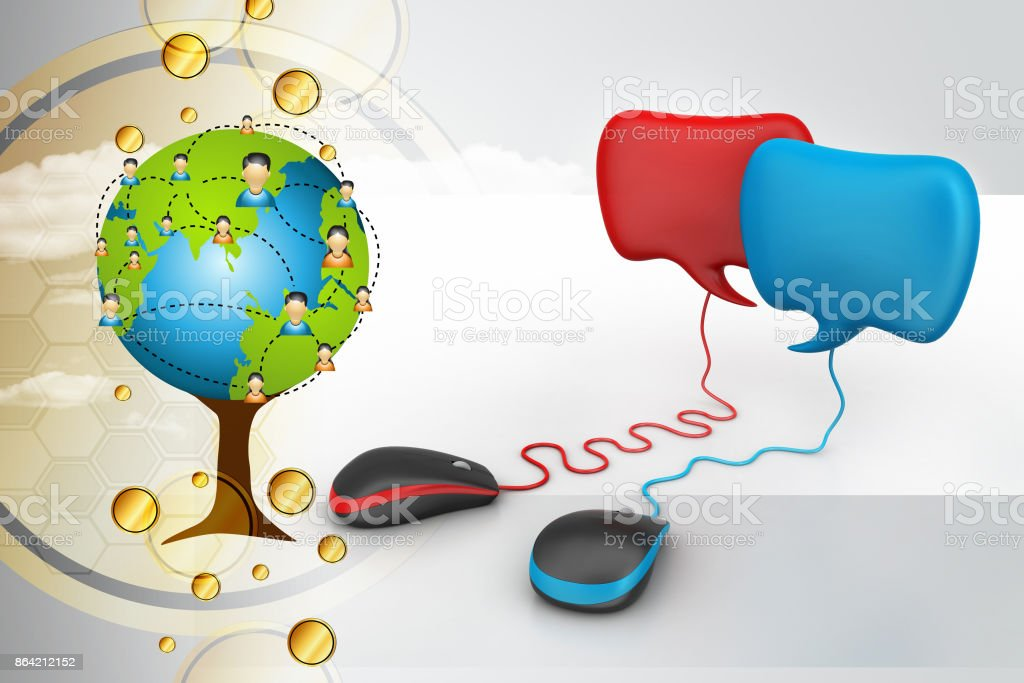 talking bubbles connected with mouse, social network Concept royalty-free stock photo