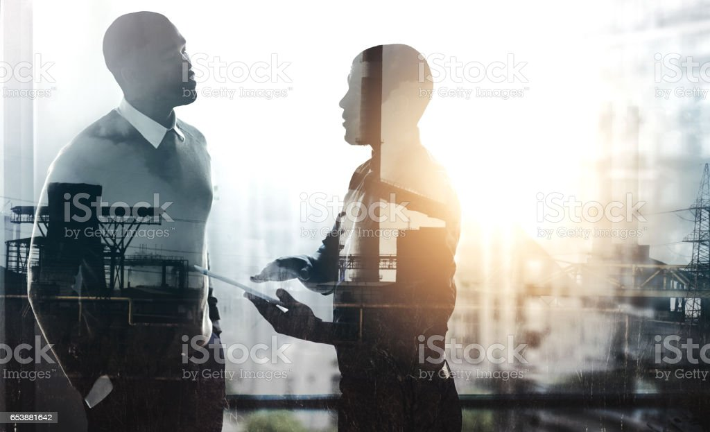 Talking it over stock photo
