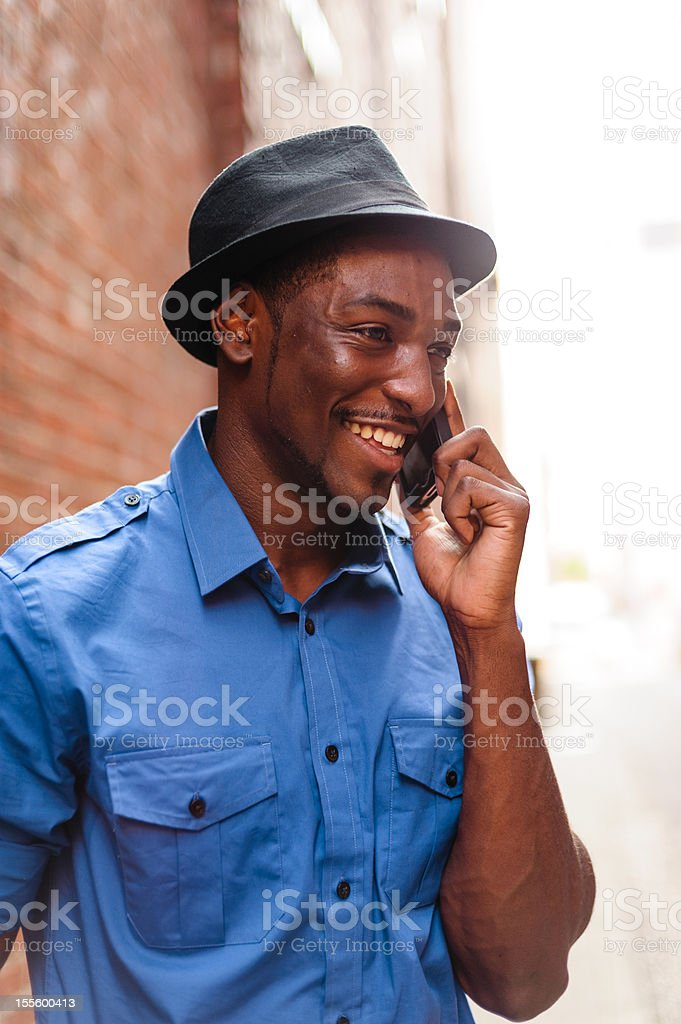 Talking On Cell Phone, Urban Environment royalty-free stock photo