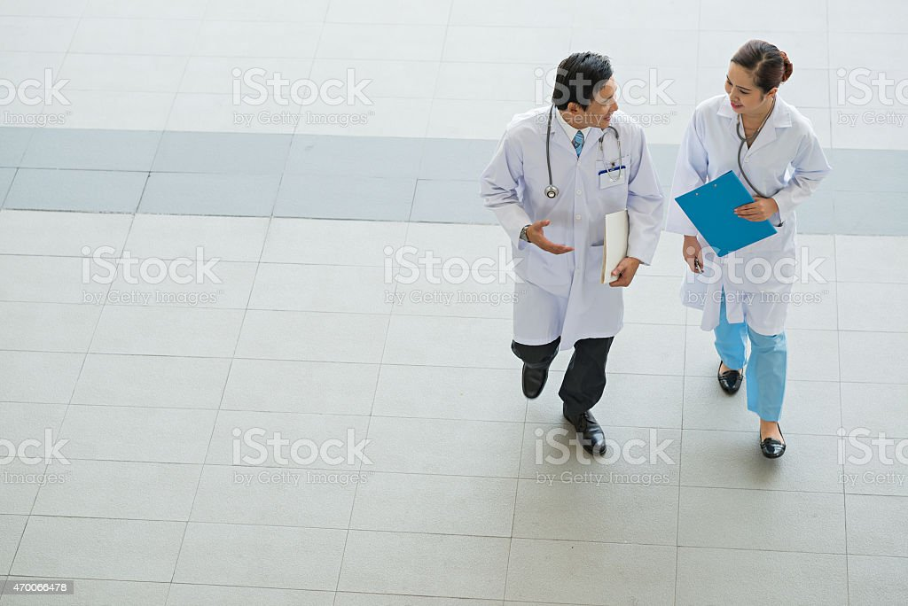 Talking physicians stock photo