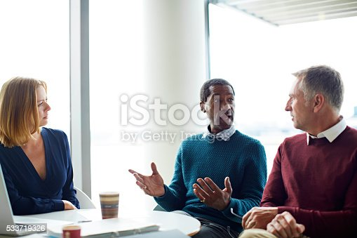 istock Talking strategy with his team 533719326