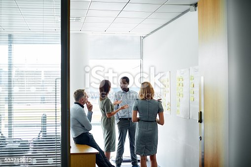 istock Talking things out as a team 533719612