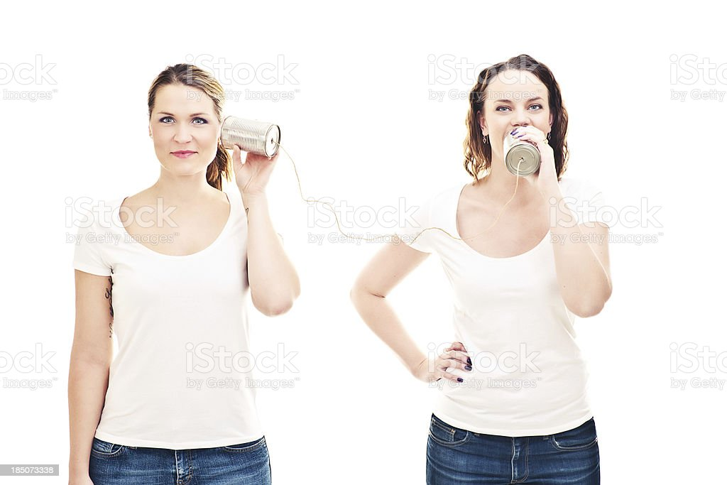 Talking through cans royalty-free stock photo