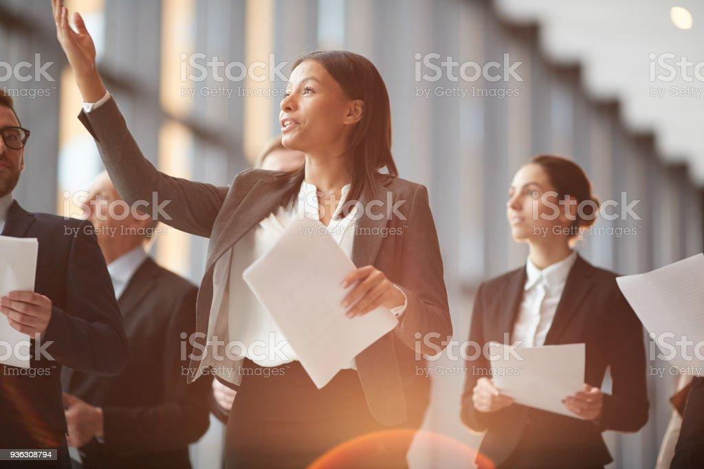 Talking to delegates stock photo