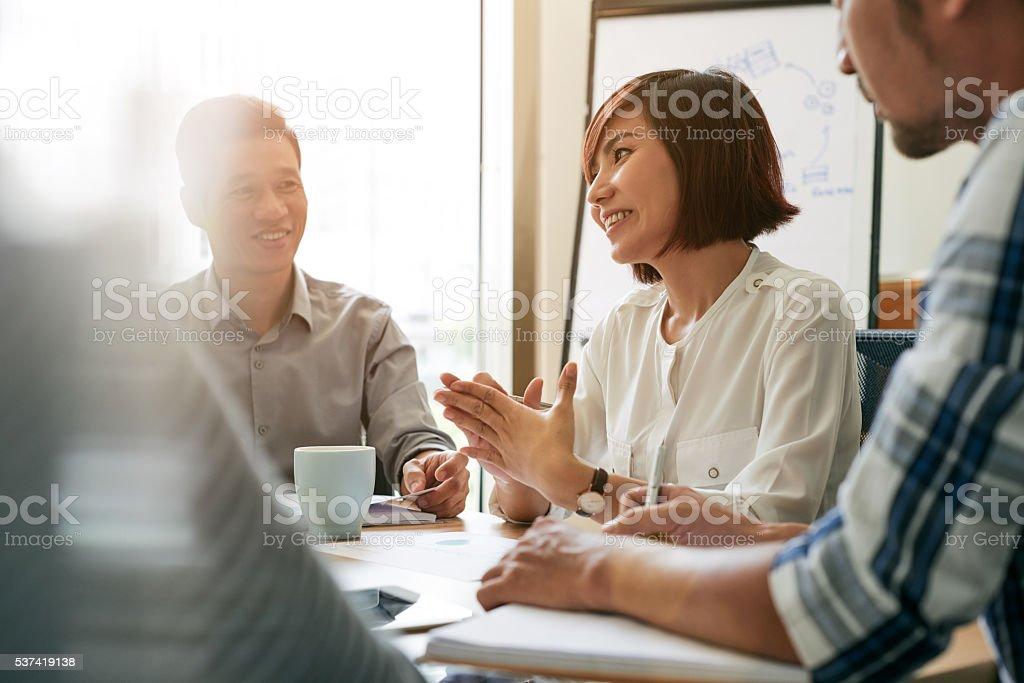 Talking to employees stock photo