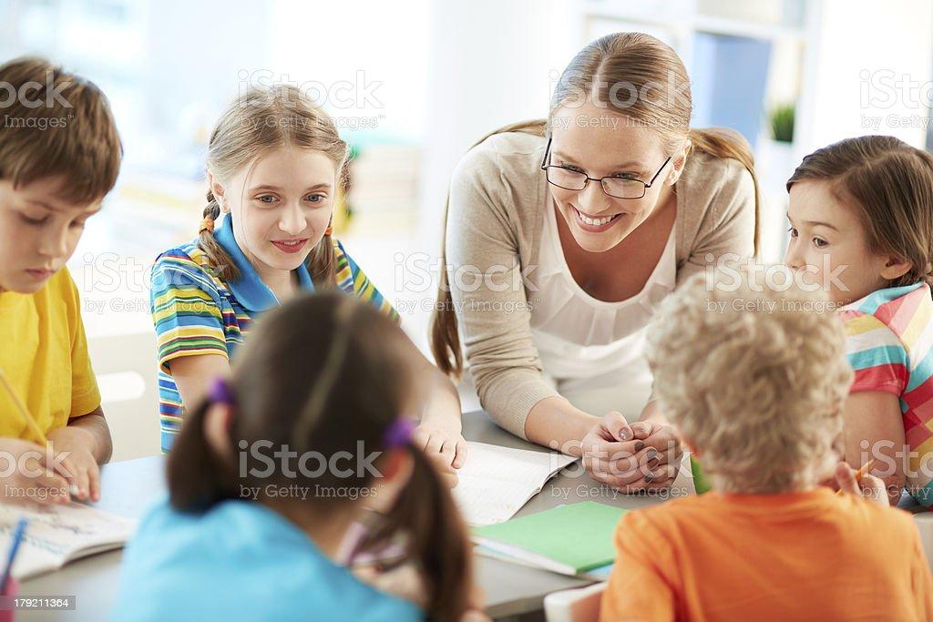 Talking to pupils royalty-free stock photo