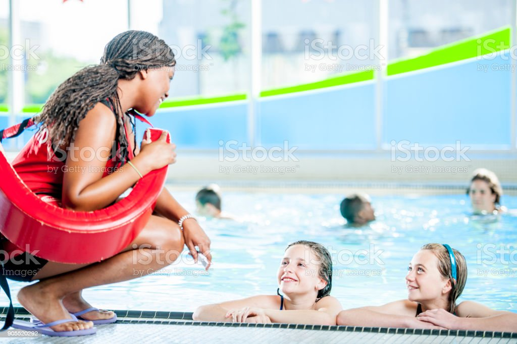 Talking To The Lifeguard stock photo