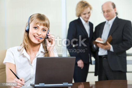 917307226 istock photo Talking with client 115963066