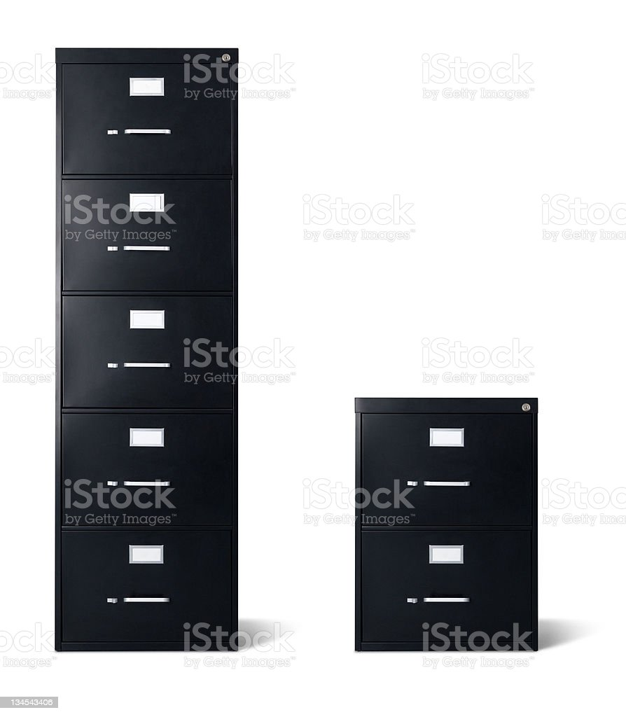 Tall and Short Black Filing Cabinets Isolated stock photo