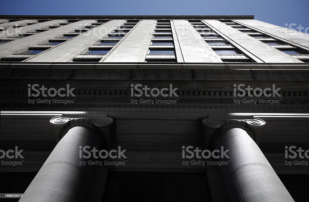 Tall Building And Columns stock photo